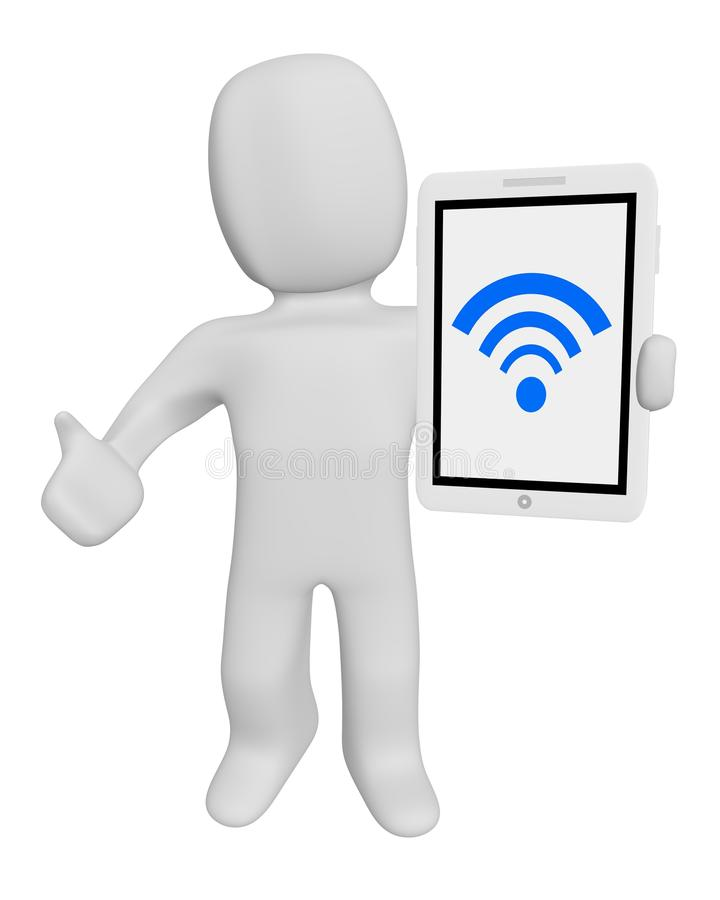 Download 3d human hold tablet wifi stock illustration. Image of network - 38265704