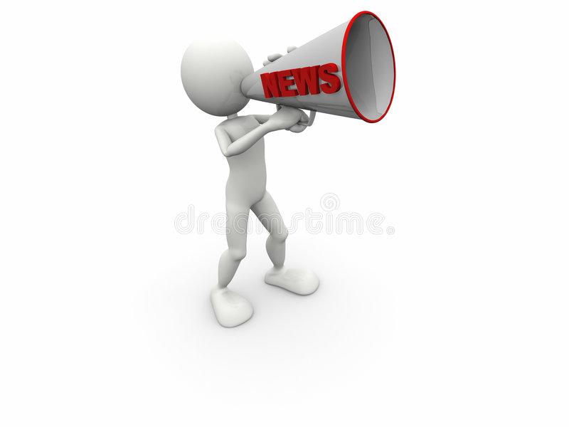 3d Human News Megaphone Stock Photos