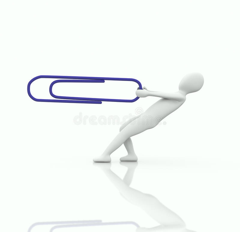 3d human pull a big paper clip stock illustration