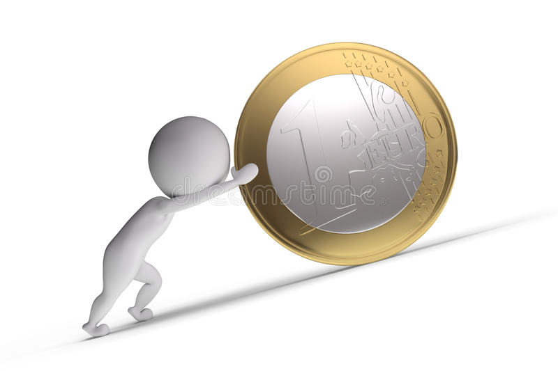 3d human pushes a big coin. On white background stock illustration