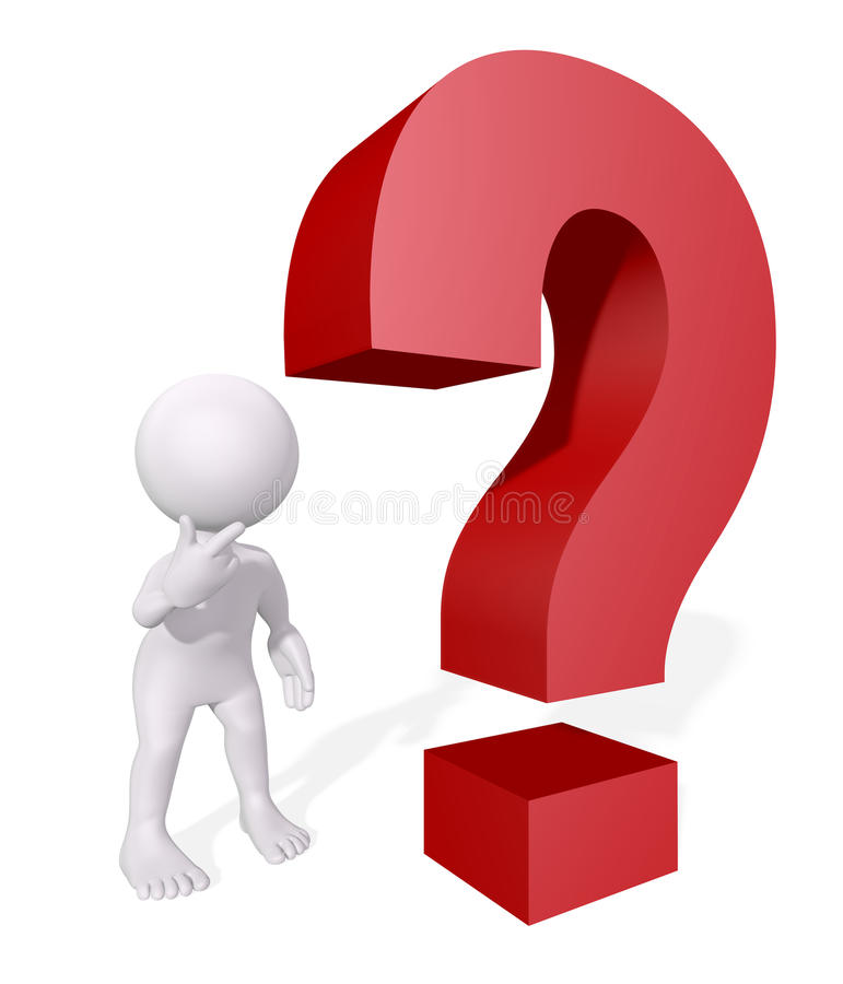 3D Human with question royalty free stock photo