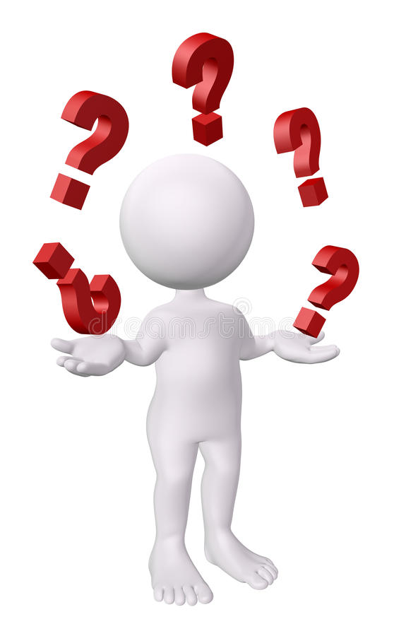 3D human with red question marks stock photo
