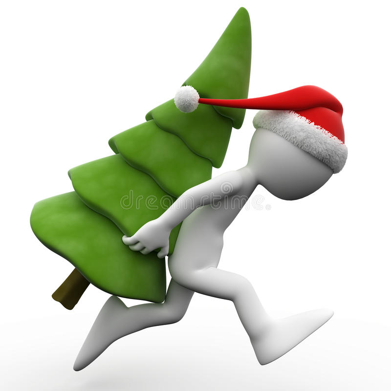 3D human running with a Christmas tree. And Santa Claus hat royalty free illustration