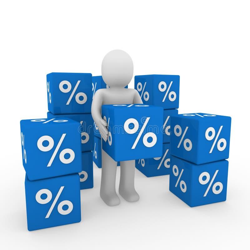 3d human sale cube stock illustration
