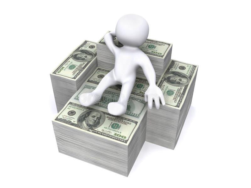 3D Human sitting on money. 3D Human sitted on USD bill stock illustration
