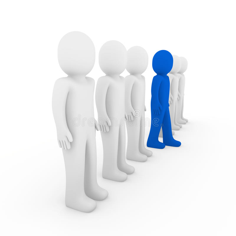 3d human stand crowd blue vector illustration