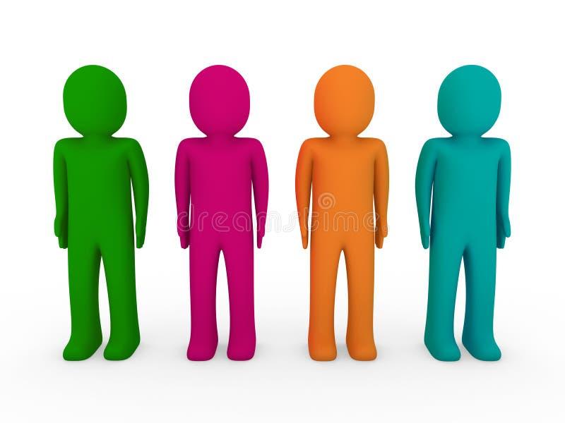3d human team green pink orange turquoise vector illustration
