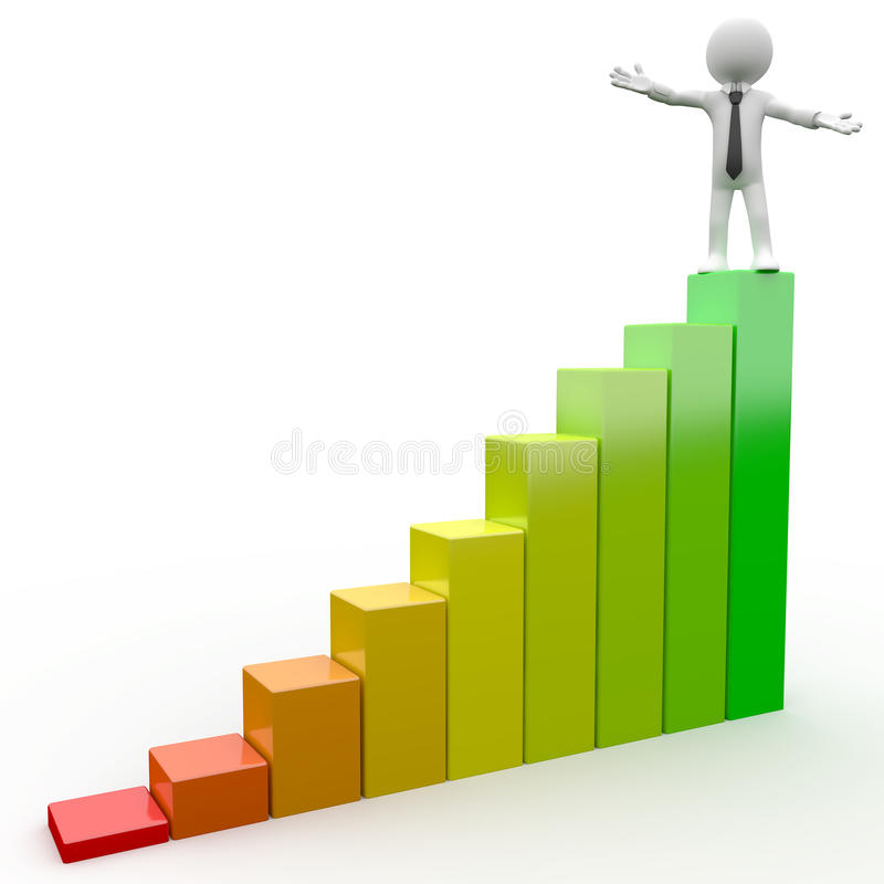 Free 3D Human With A Bar Chart Royalty Free Stock Photos - 16822278