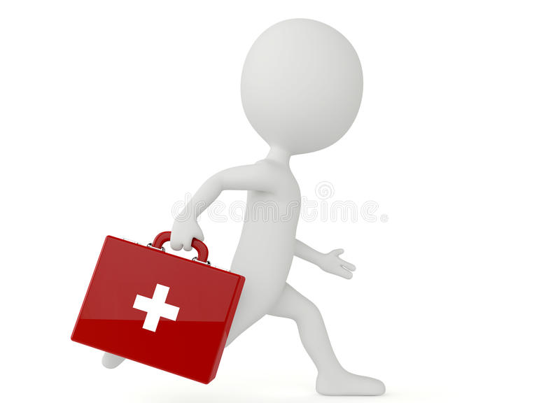 3d humanoid character with a first aid kit vector illustration