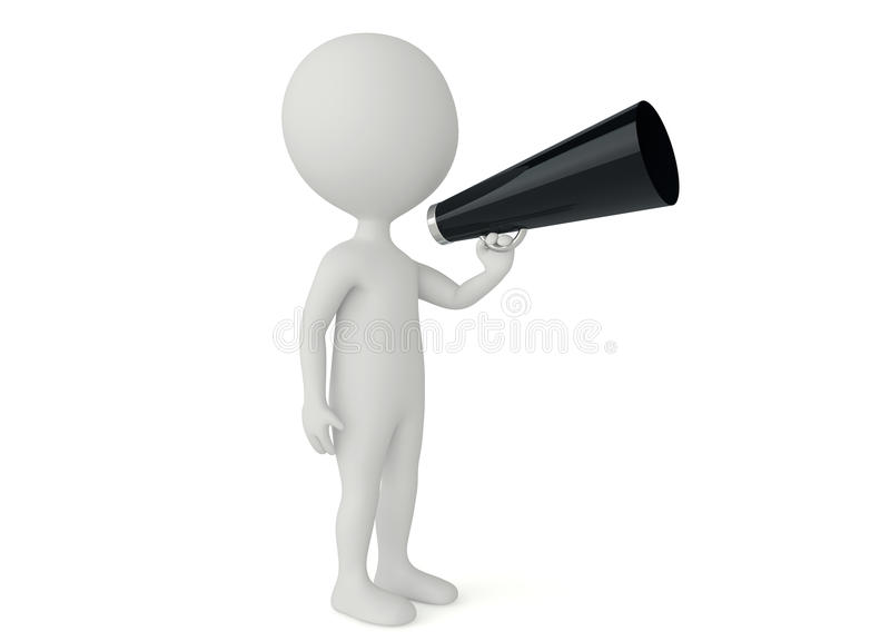 Download 3d Humanoid Character Hold A Bullhorn Stock Illustration - Image: 26536502