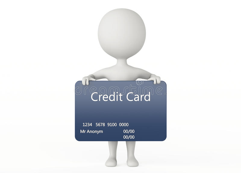 Download 3d Humanoid Character Hold A Credit Card Stock Illustration - Image: 26470797