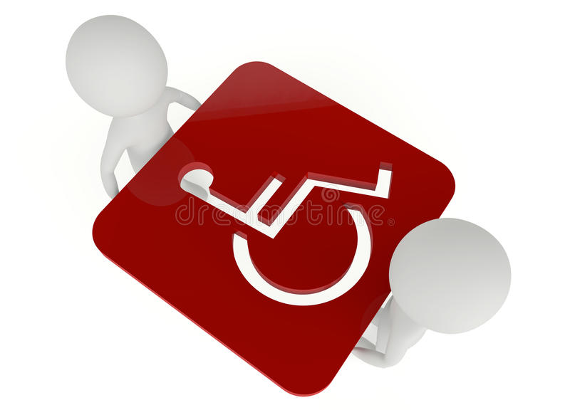 Download 3d Humanoid Character Hold A Handicapped Symbol Stock Illustration - Image: 27002459