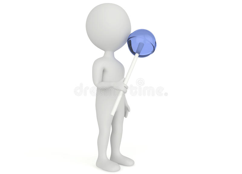 3d Humanoid Character Hold A Lollipop Stock Image