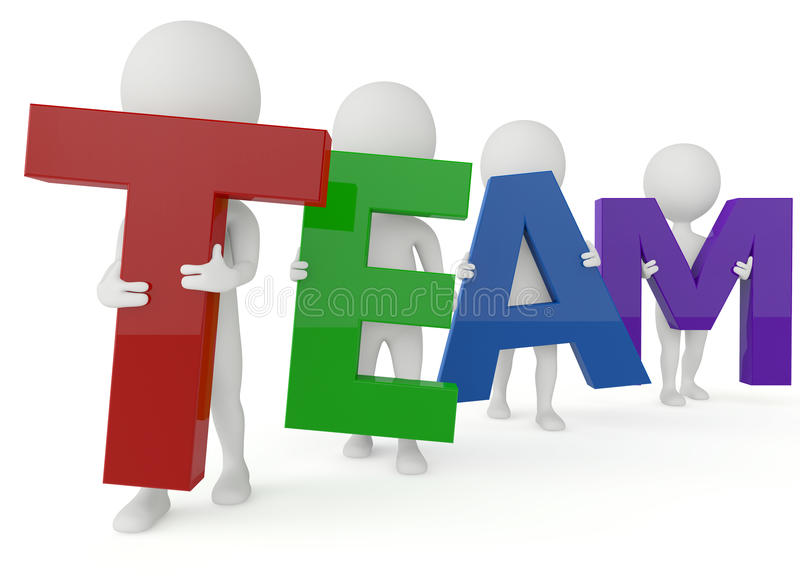 Download 3d Humanoid Character Hold A Team Word Stock Illustration - Image: 26761003