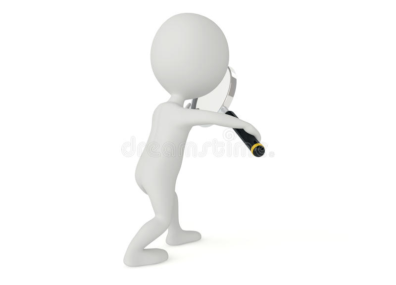 3d Humanoid Character With A Magnifier Royalty Free Stock Photos