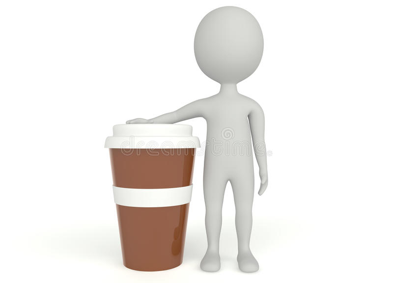 Download 3d Humanoid Character Plastic Cup Coffee Stock Illustration - Image: 26639028