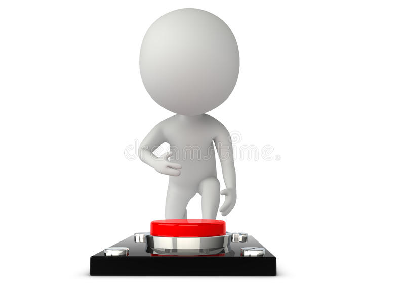 3d Humanoid Character Press A Button Royalty Free Stock Image