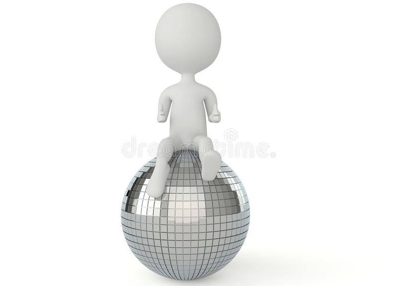 Download 3d Humanoid Character Sitting On A Disco Ball Stock Photos - Image: 26536503