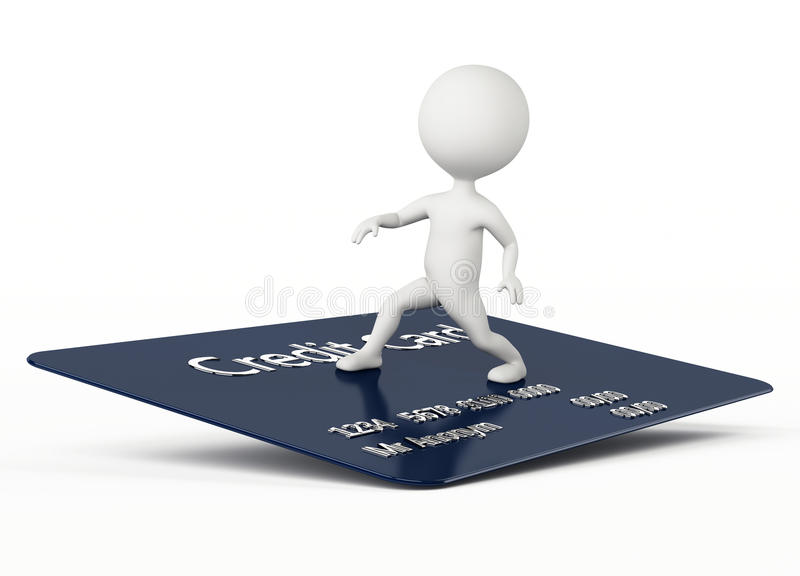 Download 3d Humanoid Character Surfing On A Credit Card Stock Illustration - Image: 26470813