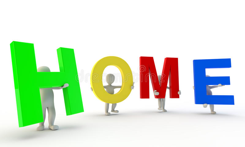 3D Humans Forming Colorfull HOME Word Stock Image