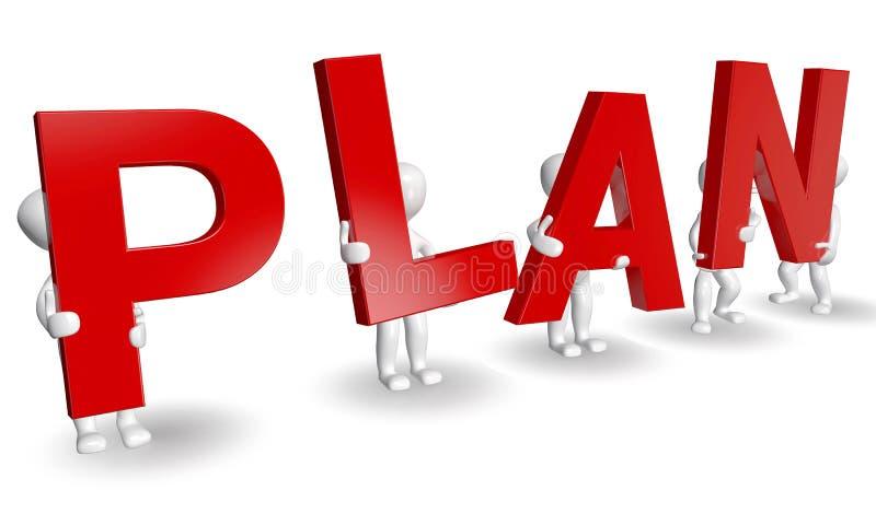 Download 3D Humans Forming Red PLAN Word Stock Illustration - Illustration: 21743933