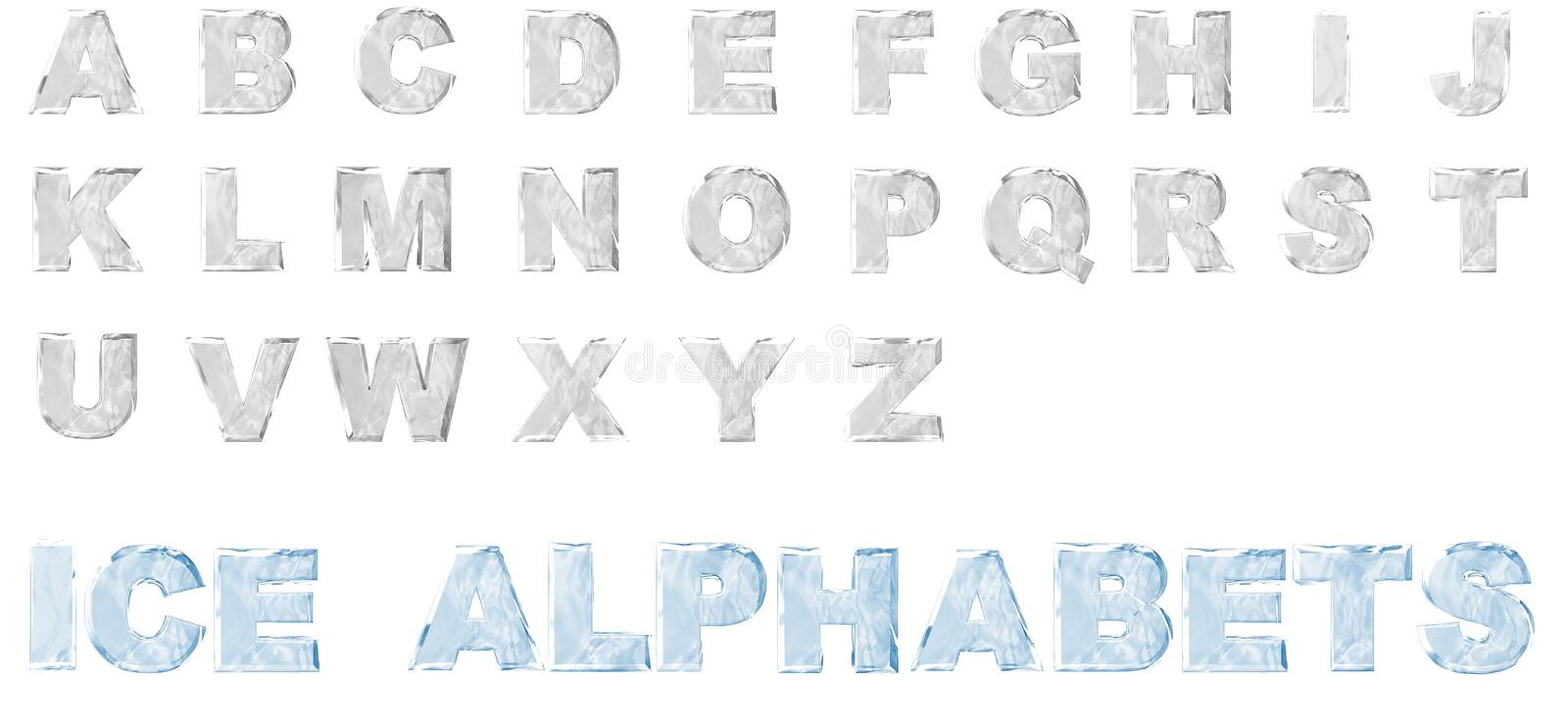3D Ice Alphabets set. 3D Render of ice alphabets from A to Z, isolated on a white background stock illustration