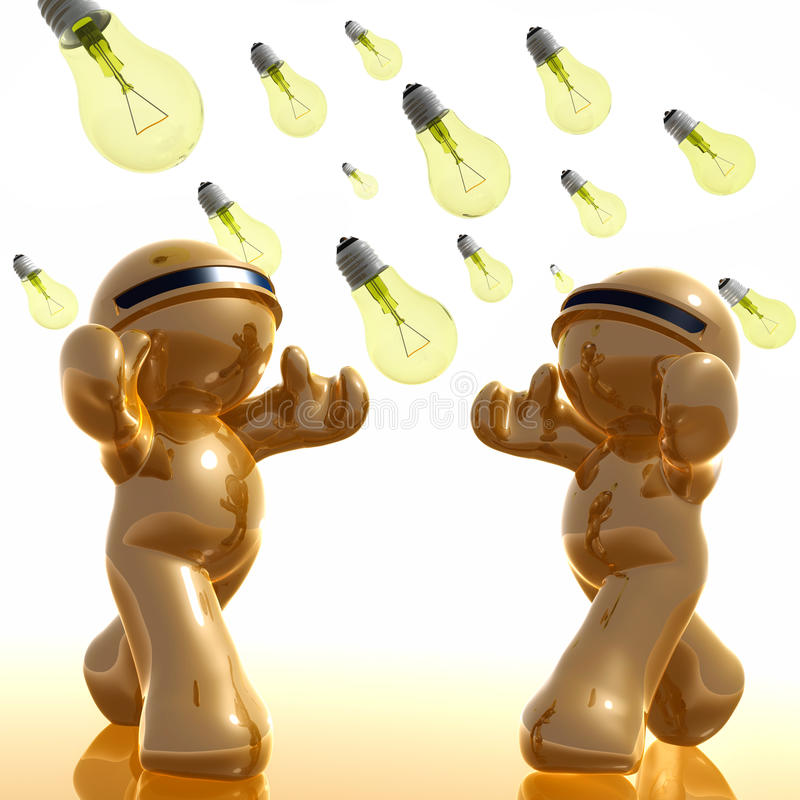 3d icon with idea light bulb rain. Illustration stock illustration