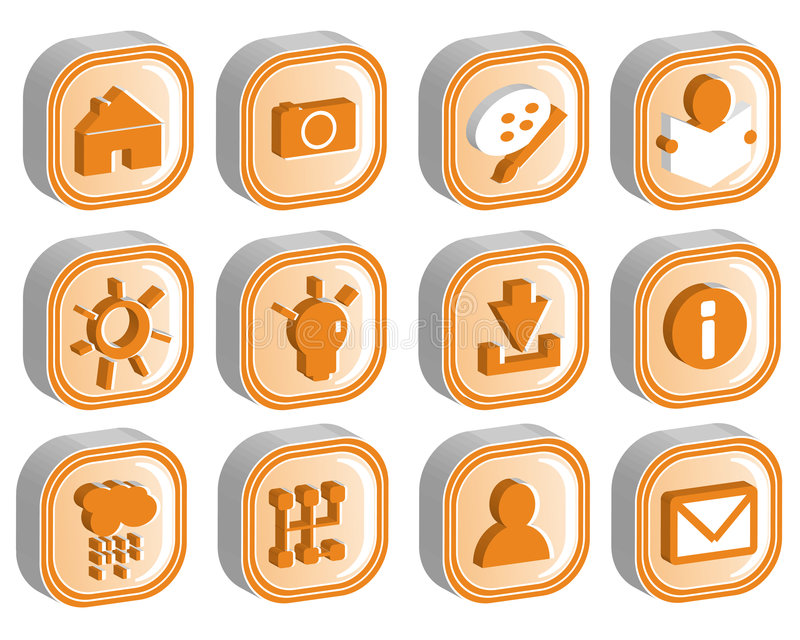 3D Icon Set 2 vector. 3D icons illustration vector format stock illustration