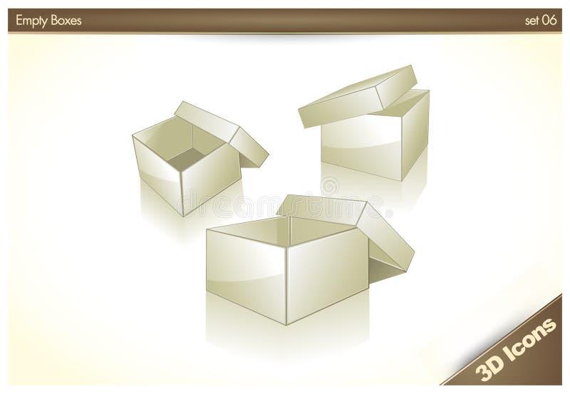 3D icone - caselle vuote in bianco - insieme 06 illustrazione di stock