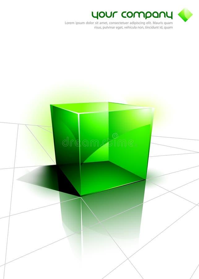 3D icone - disegno verde del cubo illustrazione di stock