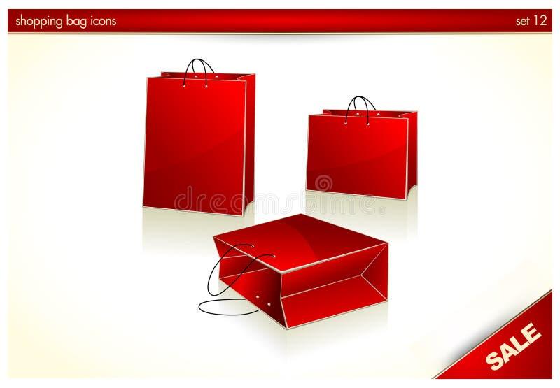 3D icone - sacchetti rossi del regalo di natale illustrazione di stock