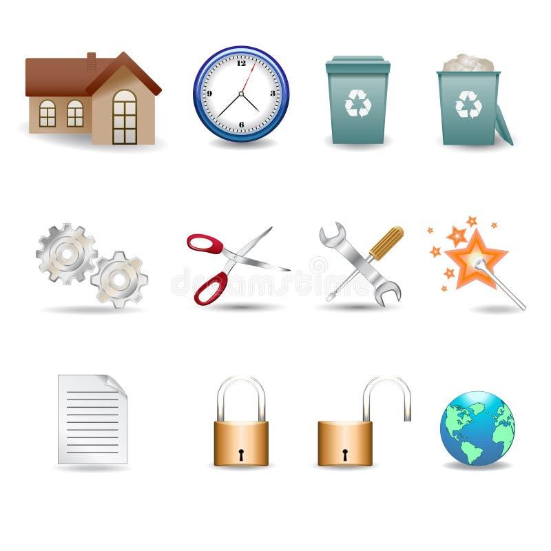3D iconos v.2 ilustración del vector