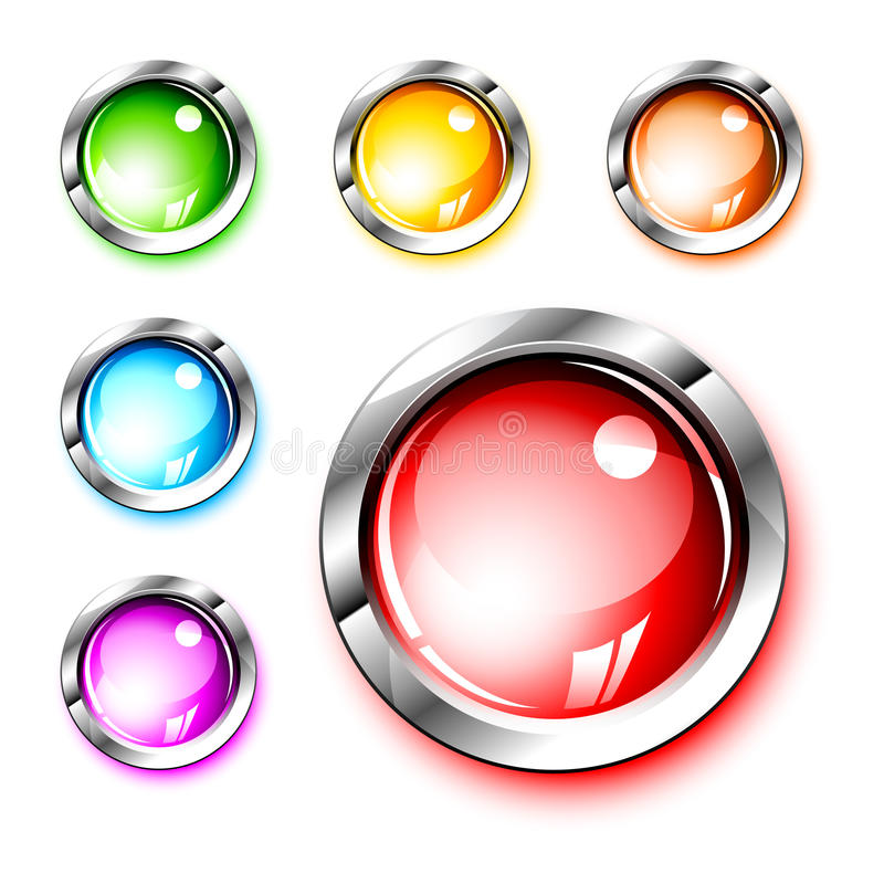 3D Icons: Blank Glossy Push Buttons Stock Vector