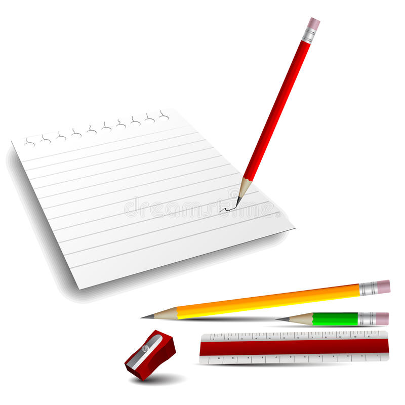 3D Icons: Note Paper, Pencils, Ruler And Sharpener Stock Photo