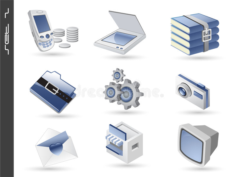 Download 3d icons set 02 stock vector. Image of internet, isolated - 9127353