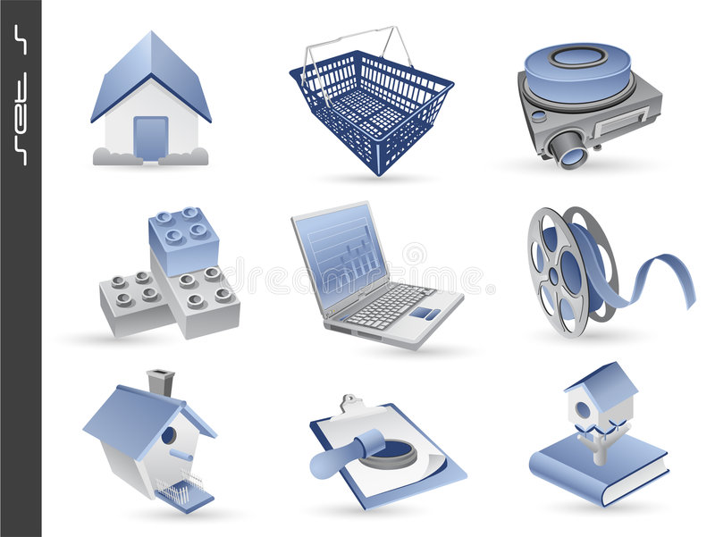 Download 3d icons set 05 stock vector. Illustration of education - 9127677