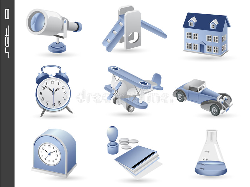 3d icons set 08 royalty free stock photography