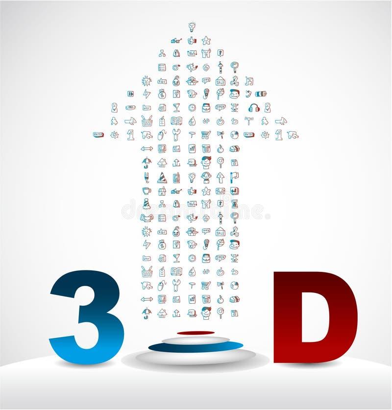 3d ikona karciani internety ilustracji