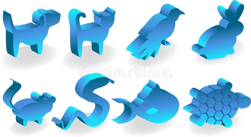 3d ikony zwierzę domowe ilustracji