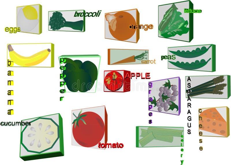3d Illustartions Of Healty Foods For Children Stock Images