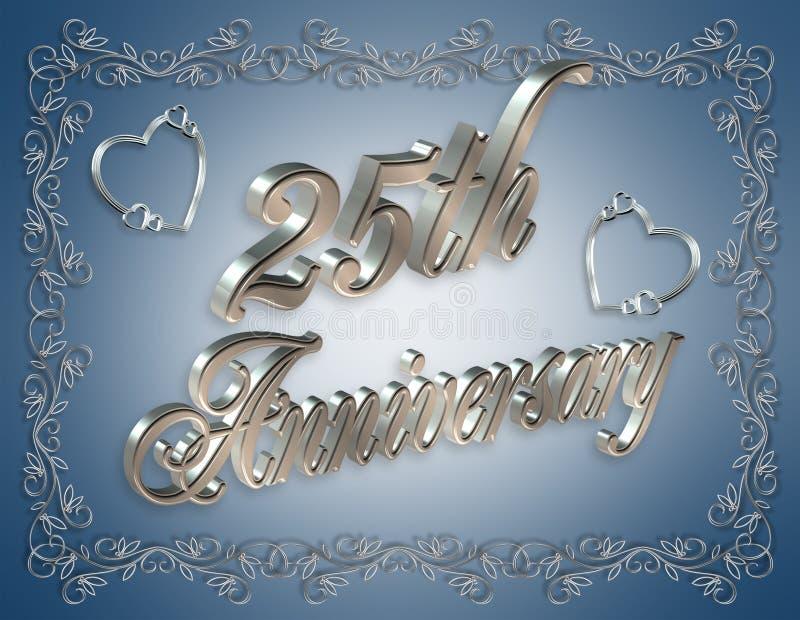 3D illustratie van de 25ste Verjaardag stock illustratie