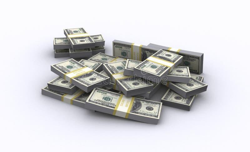 3d illustratie van dollarbankbiljetten royalty-vrije stock fotografie