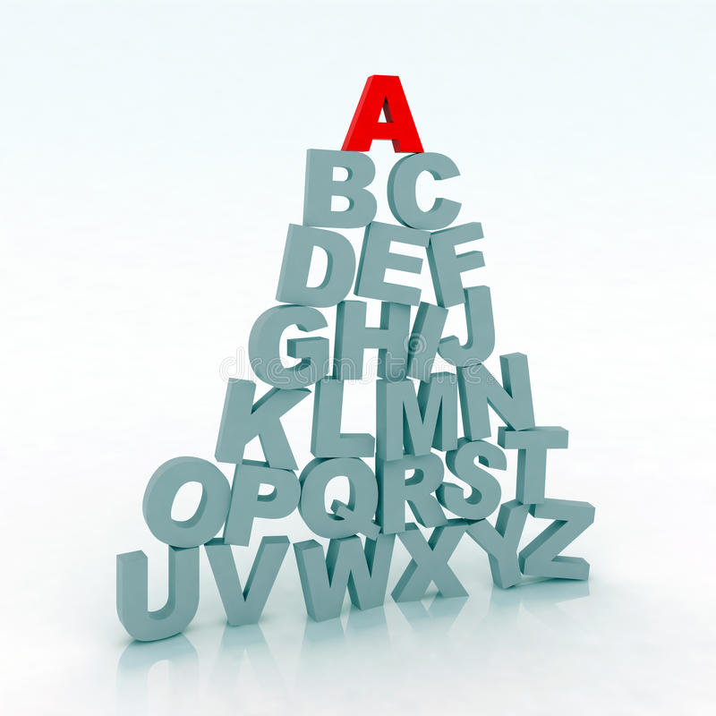 3d illustration alphabet. With gray letter and the first red royalty free illustration