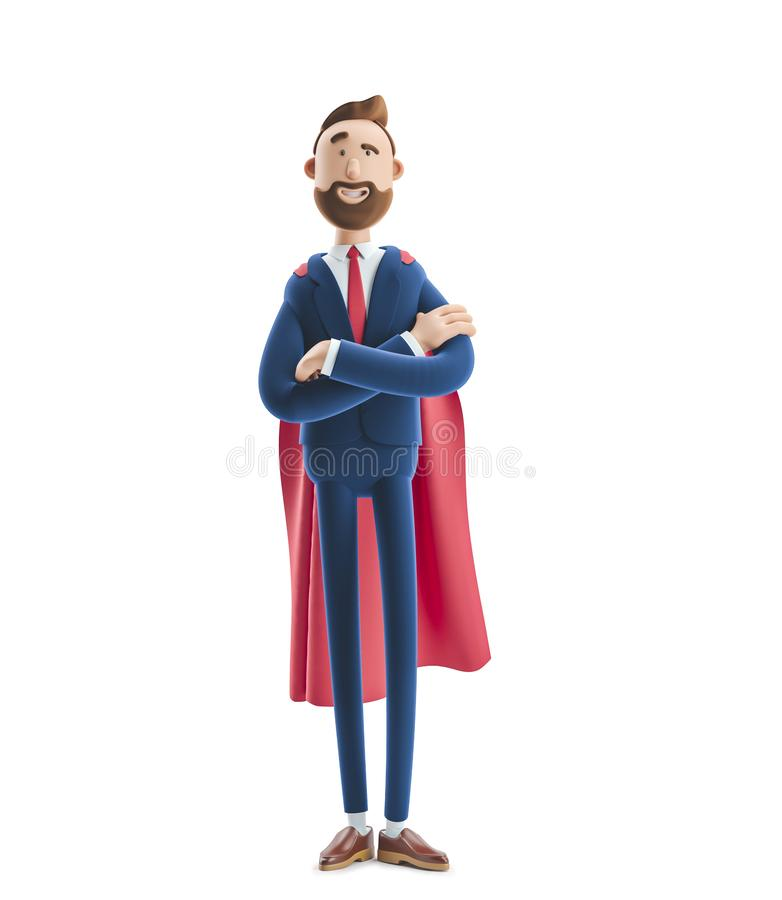 Free 3d Illustration.Businessman Billy Clothed Like A Superhero. Royalty Free Stock Photo - 144186965