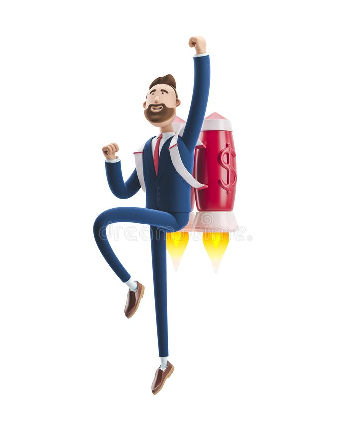 Free 3d Illustration. Businessman Billy Flying On A Rocket Jetpack Up. Concept Of  Business Startup, Launching Of A New Company. Royalty Free Stock Photography - 144215607