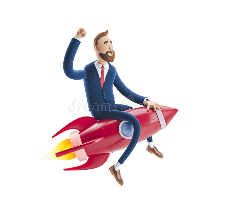 Free 3d Illustration. Businessman Billy Flying On A Rocket Up. Concept Of  Business Startup, Launching Of A New Company. Royalty Free Stock Photo - 144215765