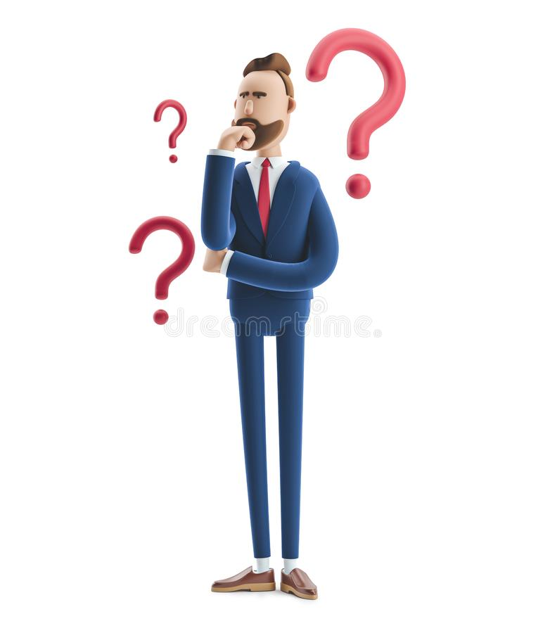 Free 3d Illustration. Businessman Billy Looking For A Solution Royalty Free Stock Image - 144187046