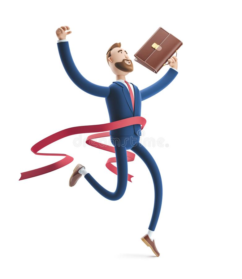 Free 3d Illustration. Businessman Billy Winning The Competition. Successful Businessman Stock Images - 145952464