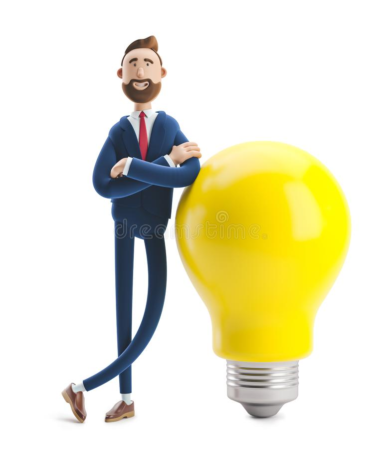 Free 3d Illustration. Businessman Billy With Yellow Bulb. Innovation And Inspiration Concept. Stock Photos - 144214783