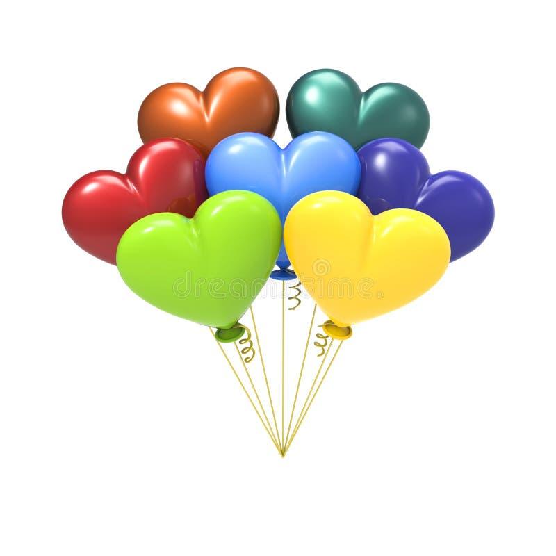 Free 3D Illustration Colour Balloon Hearts Royalty Free Stock Photo - 86835195